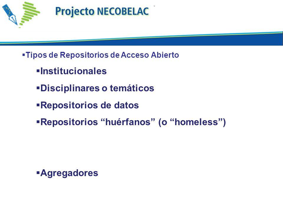 Tipos de Repositorios de Acceso Abierto Institucionales Disciplinares o temáticos Repositorios de datos Repositorios huérfanos (o homeless) Agregadore