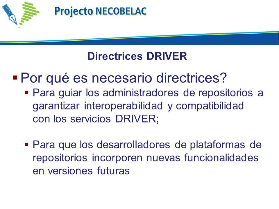 Por qué es necesario directrices? Para guiar los administradores de repositorios a garantizar interoperabilidad y compatibilidad con los servicios DRI