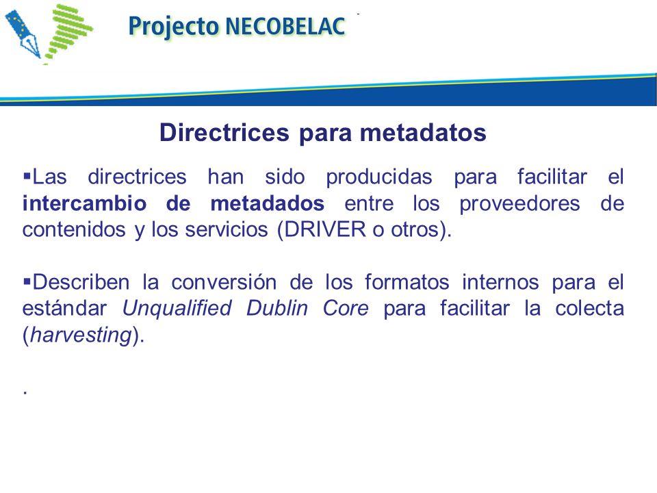 Las directrices han sido producidas para facilitar el intercambio de metadados entre los proveedores de contenidos y los servicios (DRIVER o otros). D