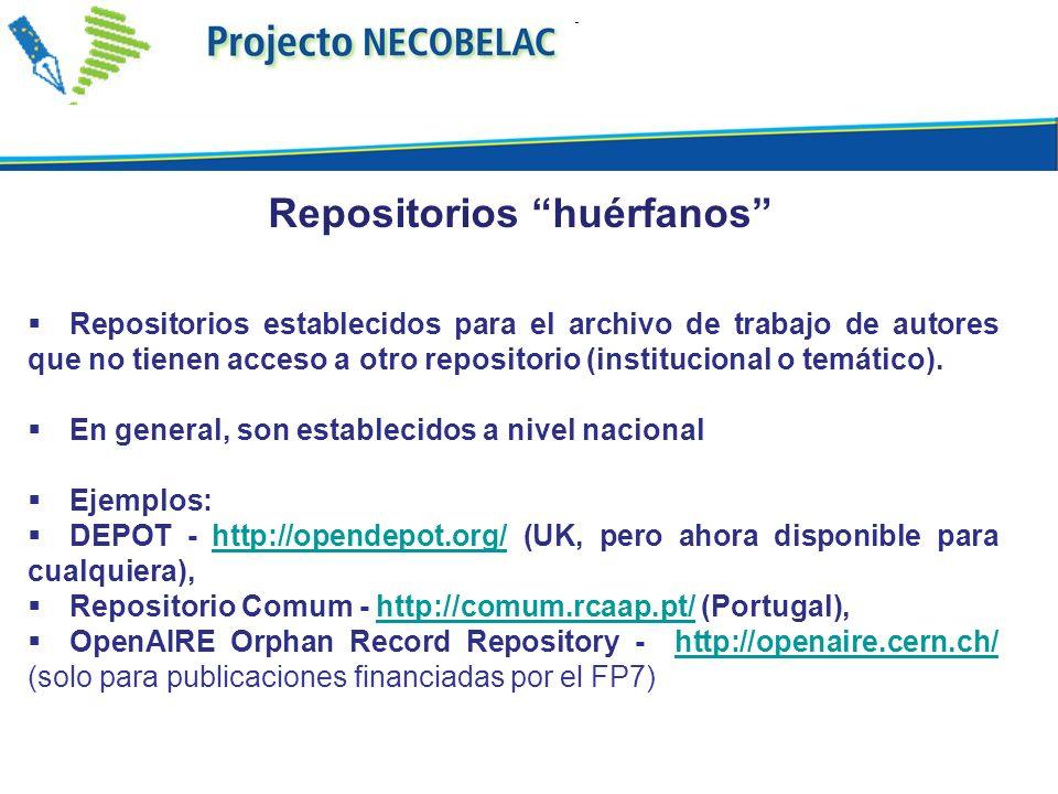 Repositorios establecidos para el archivo de trabajo de autores que no tienen acceso a otro repositorio (institucional o temático). En general, son es