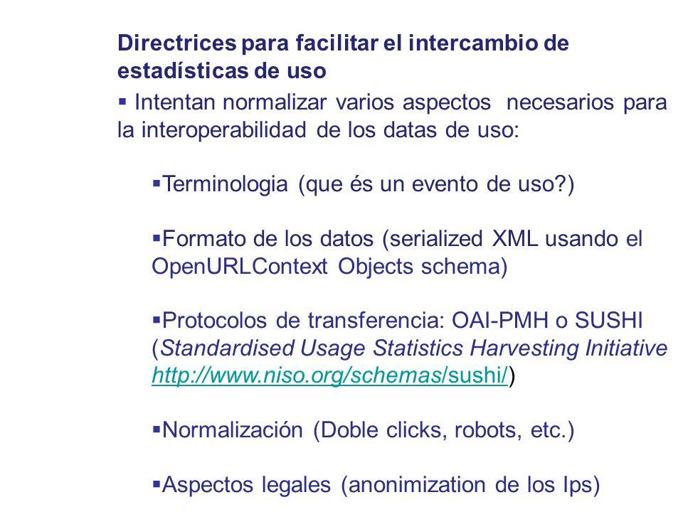 Intentan normalizar varios aspectos necesarios para la interoperabilidad de los datas de uso: Terminologia (que és un evento de uso?) Formato de los d