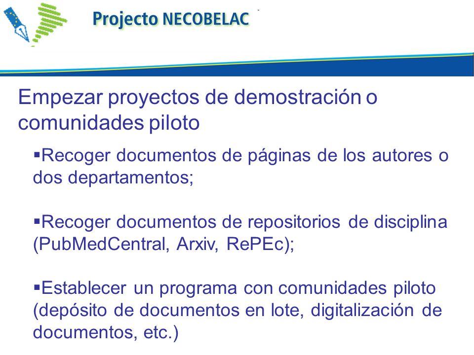 Recoger documentos de páginas de los autores o dos departamentos; Recoger documentos de repositorios de disciplina (PubMedCentral, Arxiv, RePEc); Esta