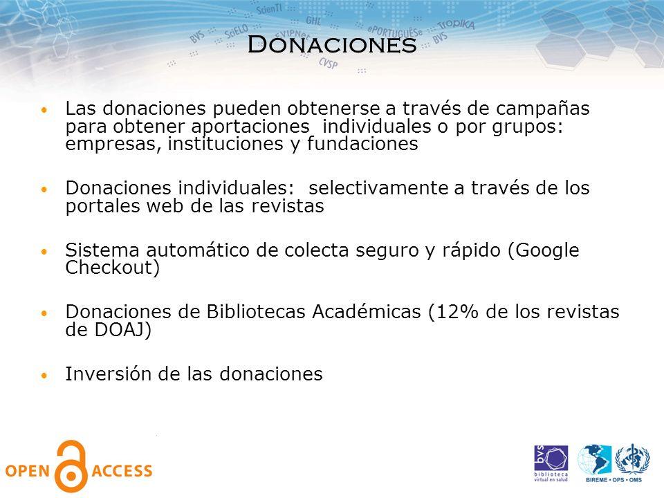 Donaciones Las donaciones pueden obtenerse a través de campañas para obtener aportaciones individuales o por grupos: empresas, instituciones y fundaci