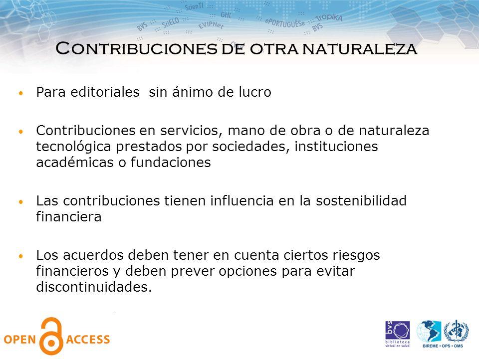 Contribuciones de otra naturaleza Para editoriales sin ánimo de lucro Contribuciones en servicios, mano de obra o de naturaleza tecnológica prestados