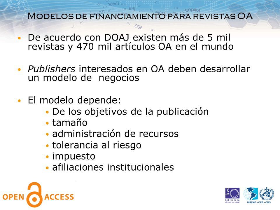 Modelos de financiamiento para revistas OA De acuerdo con DOAJ existen más de 5 mil revistas y 470 mil artículos OA en el mundo Publishers interesados