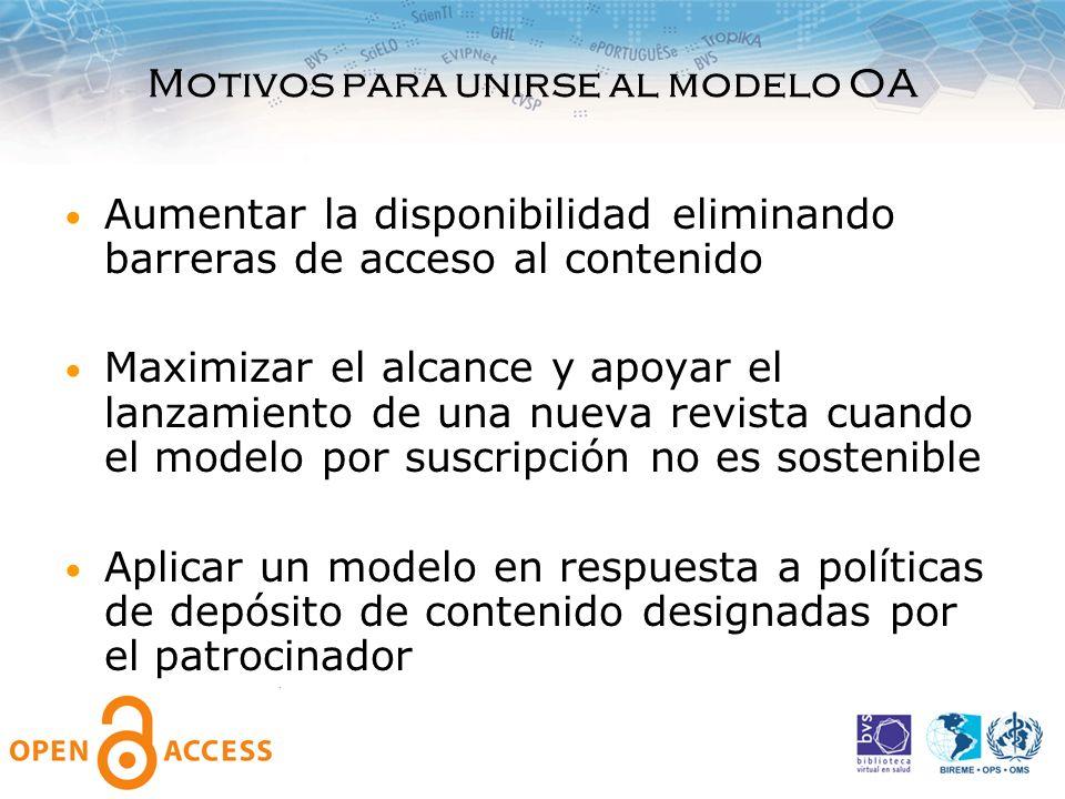 Motivos para unirse al modelo OA Aumentar la disponibilidad eliminando barreras de acceso al contenido Maximizar el alcance y apoyar el lanzamiento de
