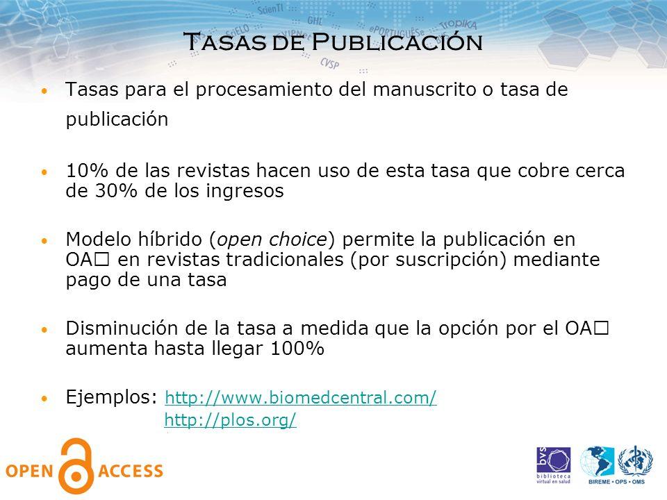 Tasas de Publicación Tasas para el procesamiento del manuscrito o tasa de publicación 10% de las revistas hacen uso de esta tasa que cobre cerca de 30