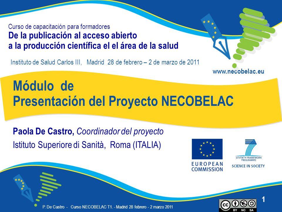 P. De Castro - Curso NECOBELAC T1. - Madrid 28 febrero - 2 marzo 2011 1 Curso de capacitación para formadores De la publicación al acceso abierto a la