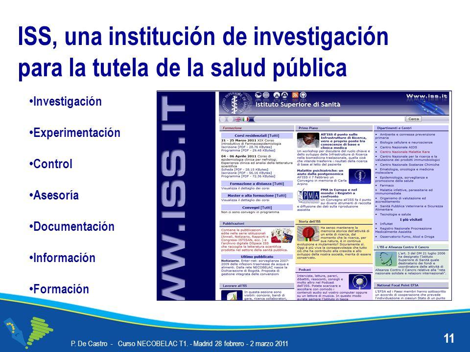 ISS, una institución de investigación para la tutela de la salud pública Investigación Experimentación Control Asesoría Documentación Información Formación 11 P.