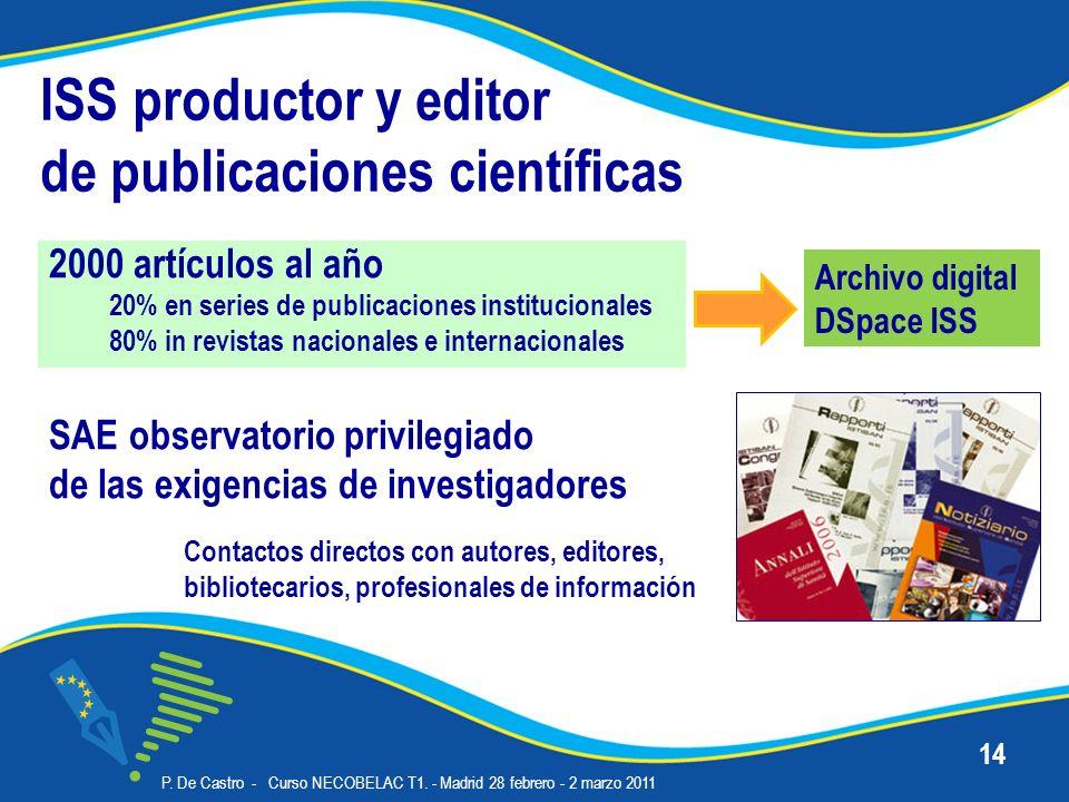 ISS productor y editor de publicaciones científicas 2000 artículos al año 20% en series de publicaciones institucionales 80% in revistas nacionales e internacionales P.