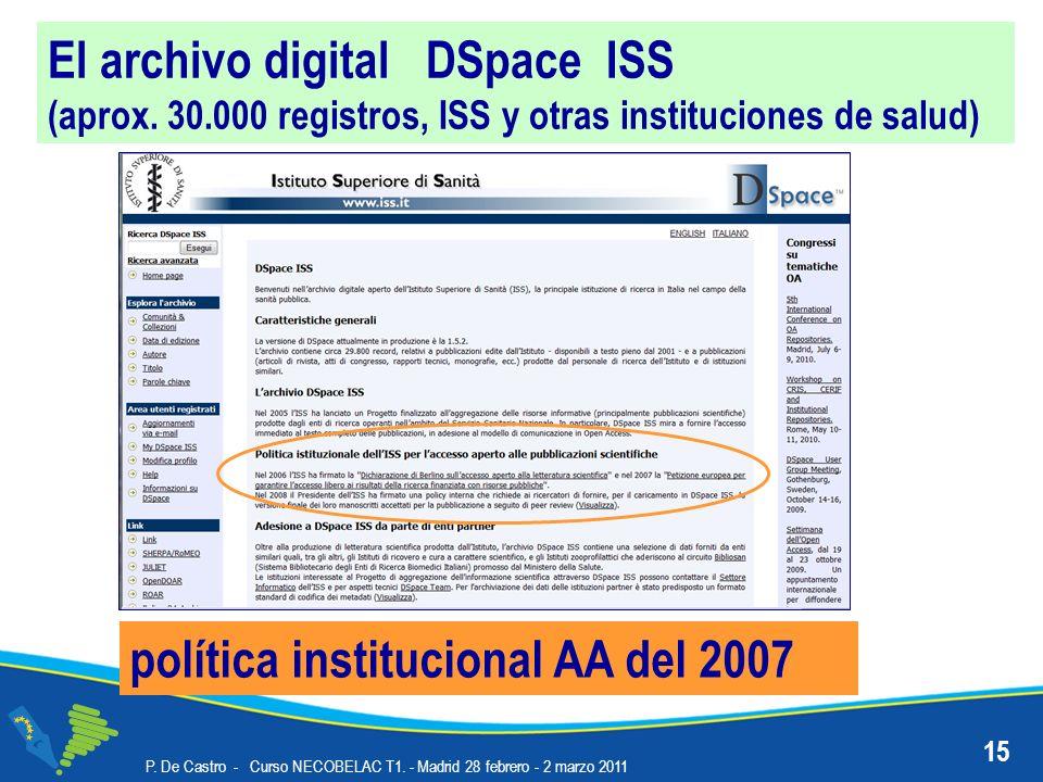 El archivo digital DSpace ISS (aprox. 30.000 registros, ISS y otras instituciones de salud) política institucional AA del 2007 15 P. De Castro - Curso