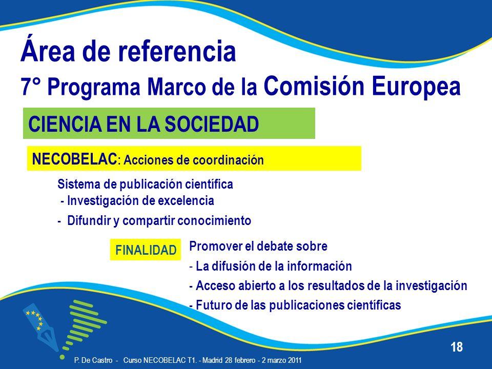 Área de referencia 7° Programa Marco de la Comisión Europea Sistema de publicación científica - Investigación de excelencia - Difundir y compartir conocimiento P.