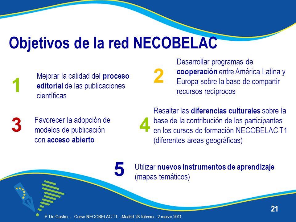Objetivos de la red NECOBELAC P. De Castro - Curso NECOBELAC T1. - Madrid 28 febrero - 2 marzo 2011 21 Desarrollar programas de cooperación entre Amér