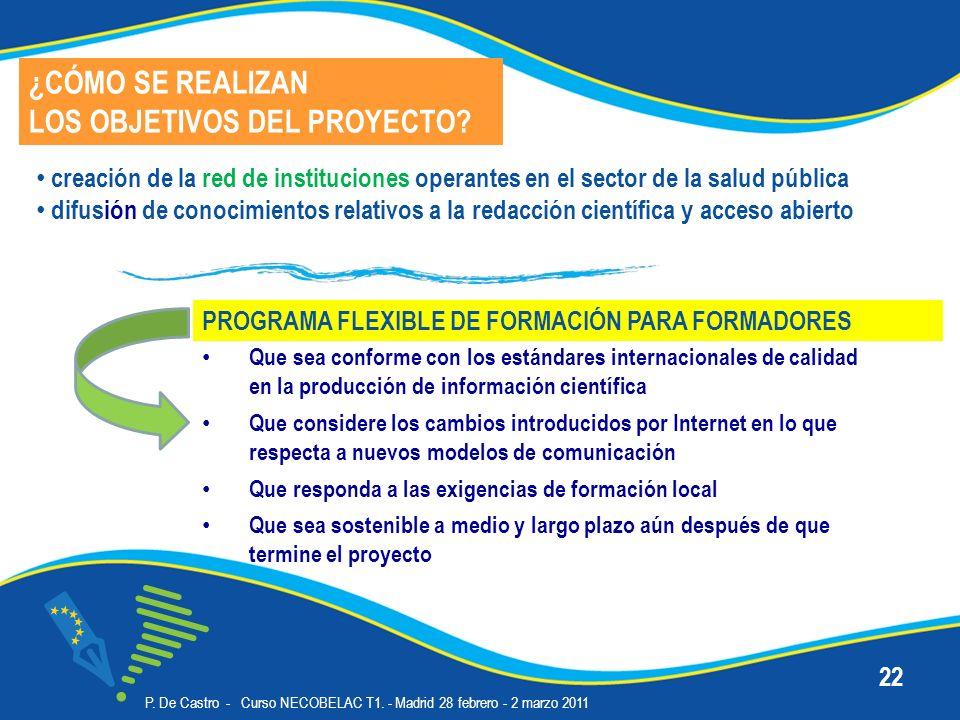 P. De Castro - Curso NECOBELAC T1. - Madrid 28 febrero - 2 marzo 2011 22 Que sea conforme con los estándares internacionales de calidad en la producci