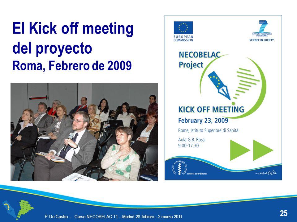 P. De Castro - Curso NECOBELAC T1. - Madrid 28 febrero - 2 marzo 2011 25 El Kick off meeting del proyecto Roma, Febrero de 2009