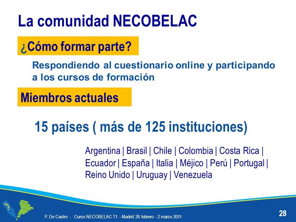 La comunidad NECOBELAC P. De Castro - Curso NECOBELAC T1. - Madrid 28 febrero - 2 marzo 2011 28 ¿Cómo formar parte? Miembros actuales Argentina | Bras