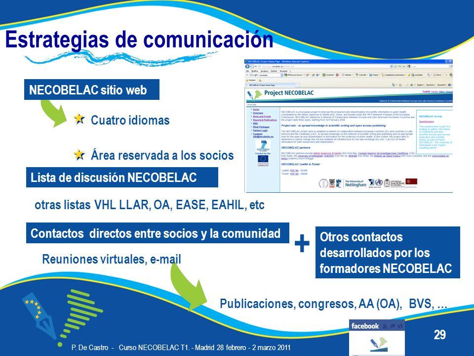 P. De Castro - Curso NECOBELAC T1. - Madrid 28 febrero - 2 marzo 2011 29 Estrategias de comunicación Cuatro idiomas NECOBELAC sitio web Lista de discu