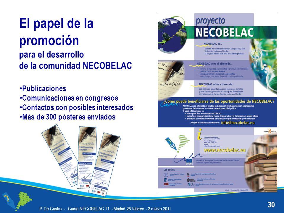 P. De Castro - Curso NECOBELAC T1. - Madrid 28 febrero - 2 marzo 2011 30 El papel de la promoción para el desarrollo de la comunidad NECOBELAC Publica