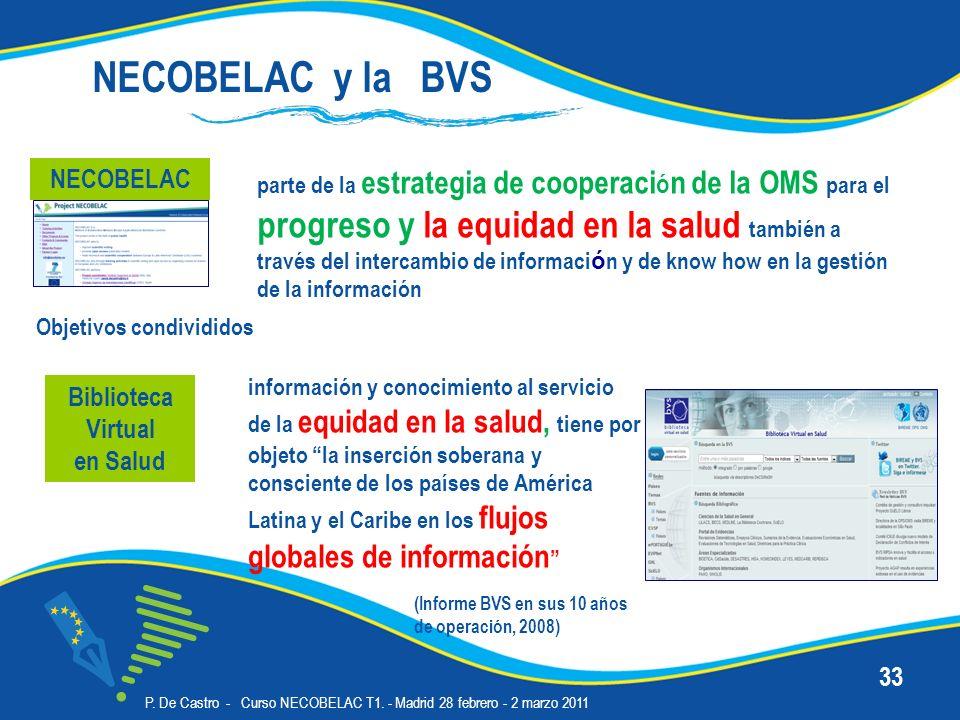 P. De Castro - Curso NECOBELAC T1. - Madrid 28 febrero - 2 marzo 2011 33 Biblioteca Virtual en Salud información y conocimiento al servicio de la equi