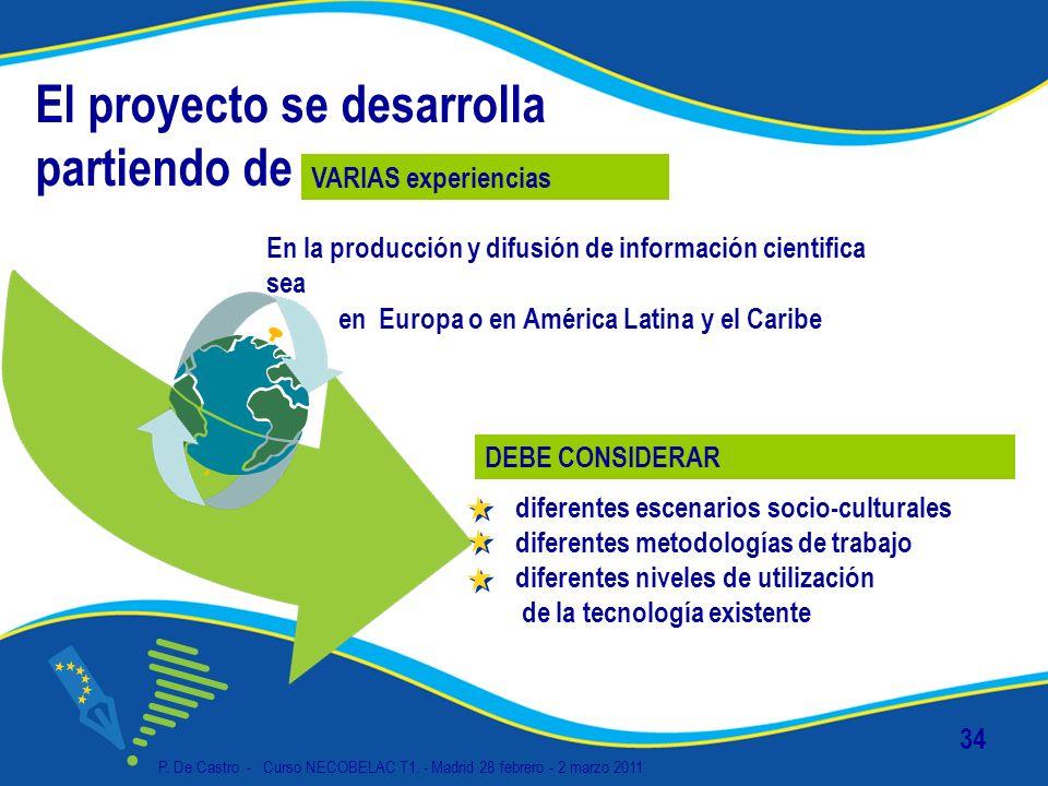 P. De Castro - Curso NECOBELAC T1. - Madrid 28 febrero - 2 marzo 2011 34 El proyecto se desarrolla partiendo de En la producción y difusión de informa