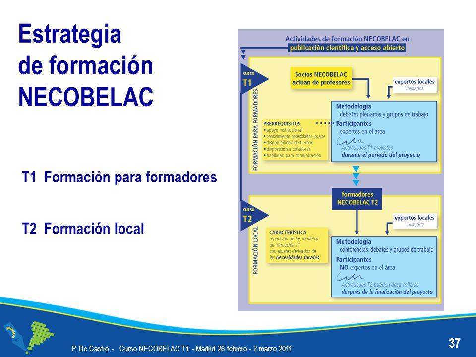 Estrategia de formación NECOBELAC 37 P. De Castro - Curso NECOBELAC T1. - Madrid 28 febrero - 2 marzo 2011 T2 Formación local T1 Formación para formad
