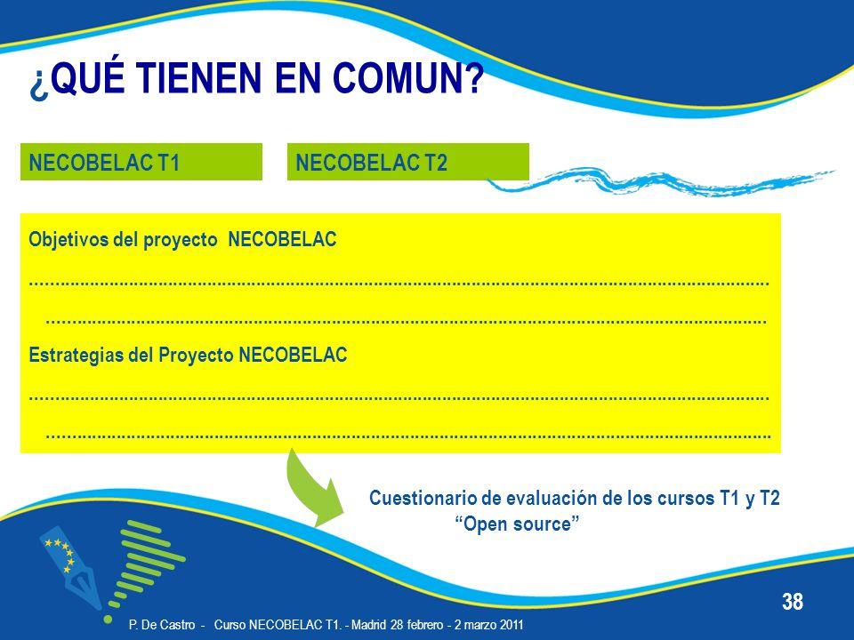P. De Castro - Curso NECOBELAC T1. - Madrid 28 febrero - 2 marzo 2011 38 ¿QUÉ TIENEN EN COMUN? NECOBELAC T1NECOBELAC T2 Objetivos del proyecto NECOBEL