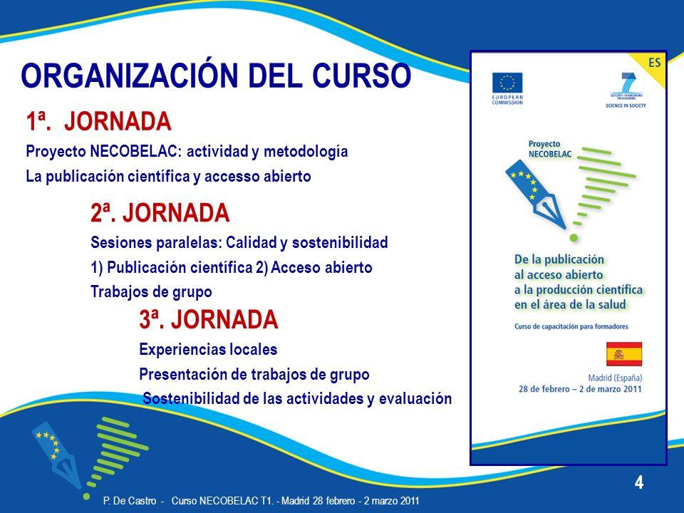ORGANIZACIÓN DEL CURSO 3ª. JORNADA Experiencias locales Presentación de trabajos de grupo Sostenibilidad de las actividades y evaluación P. De Castro