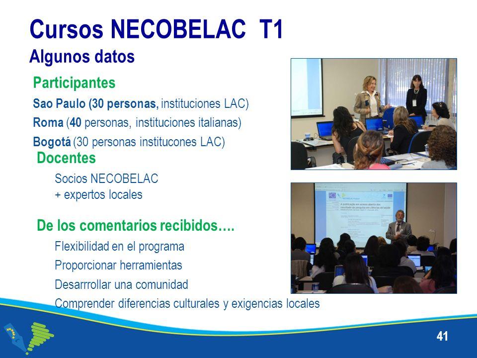 Cursos NECOBELAC T1 Algunos datos 41 De los comentarios recibidos…. Flexibilidad en el programa Proporcionar herramientas Desarrrollar una comunidad C
