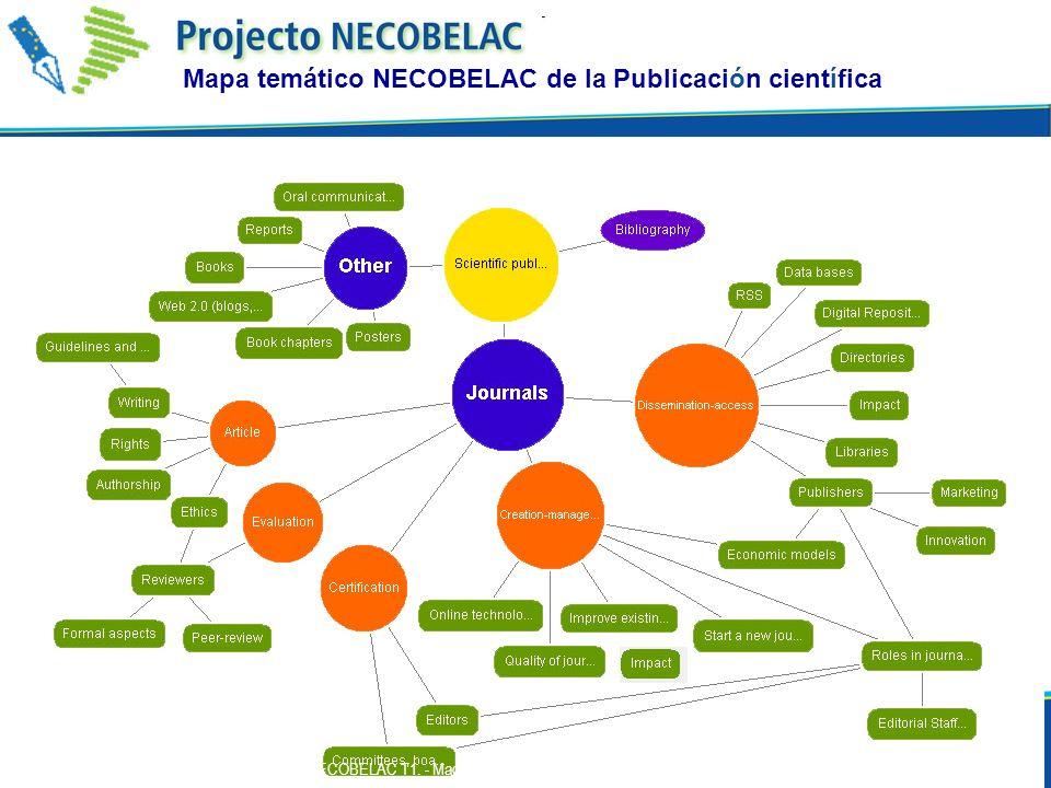 Mapa temático NECOBELAC de la Publicación científica 44 P. De Castro - Curso NECOBELAC T1. - Madrid 28 febrero - 2 marzo 2011