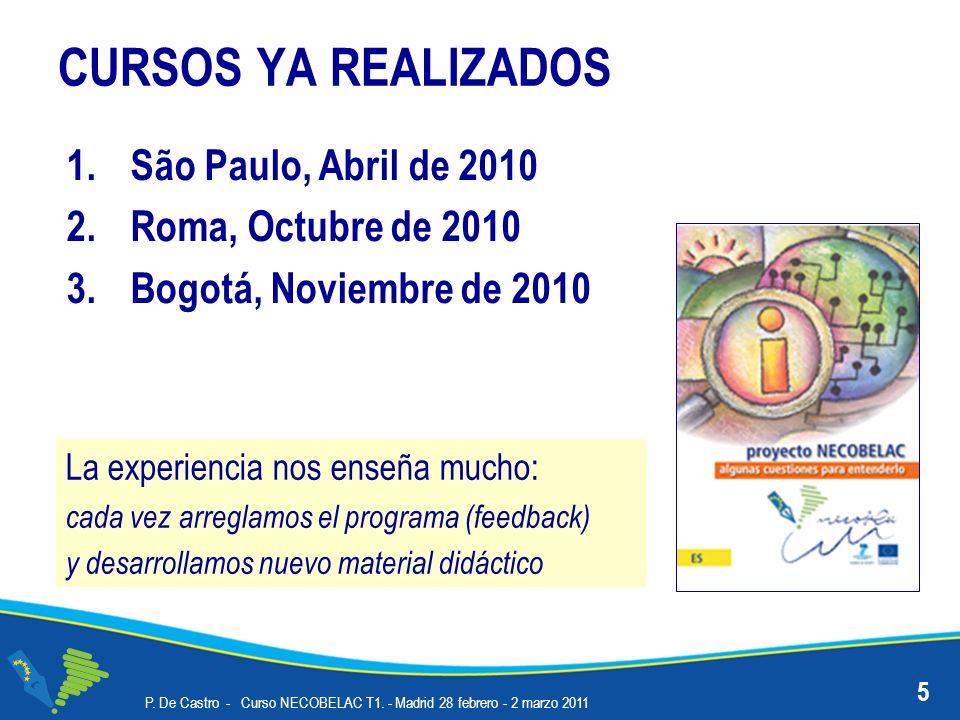 CURSOS YA REALIZADOS 1.São Paulo, Abril de 2010 2.Roma, Octubre de 2010 3.Bogotá, Noviembre de 2010 P. De Castro - Curso NECOBELAC T1. - Madrid 28 feb