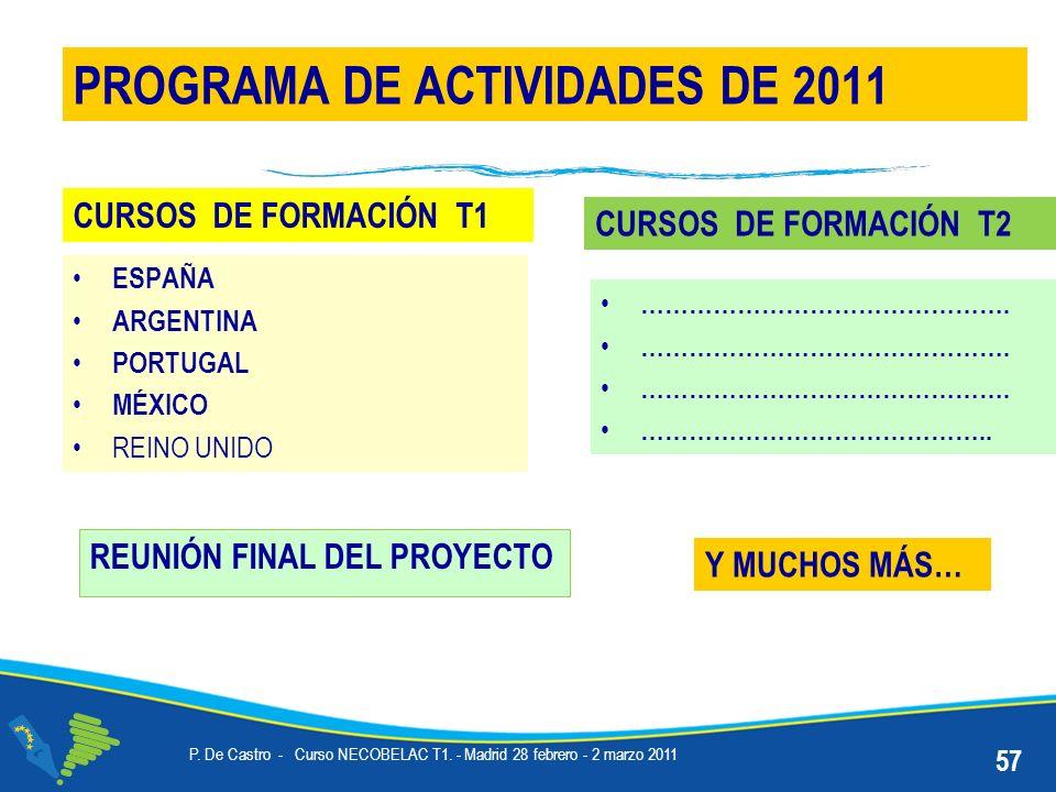 REUNIÓN FINAL DEL PROYECTO PROGRAMA DE ACTIVIDADES DE 2011 Y MUCHOS MÁS… 57 P.