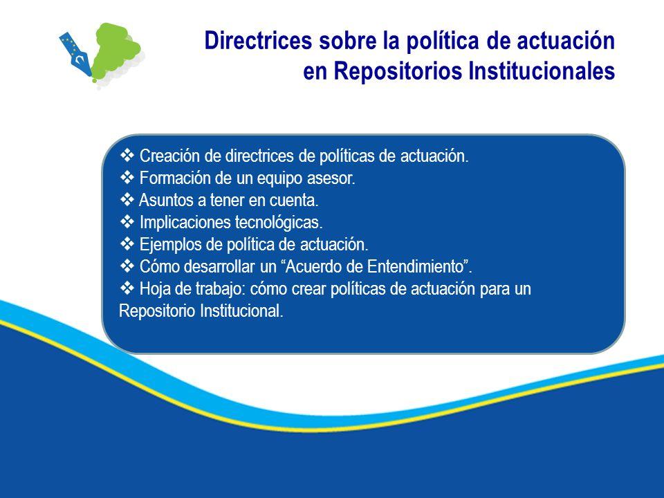 Directrices sobre la política de actuación en Repositorios Institucionales Creación de directrices de políticas de actuación. Formación de un equipo a