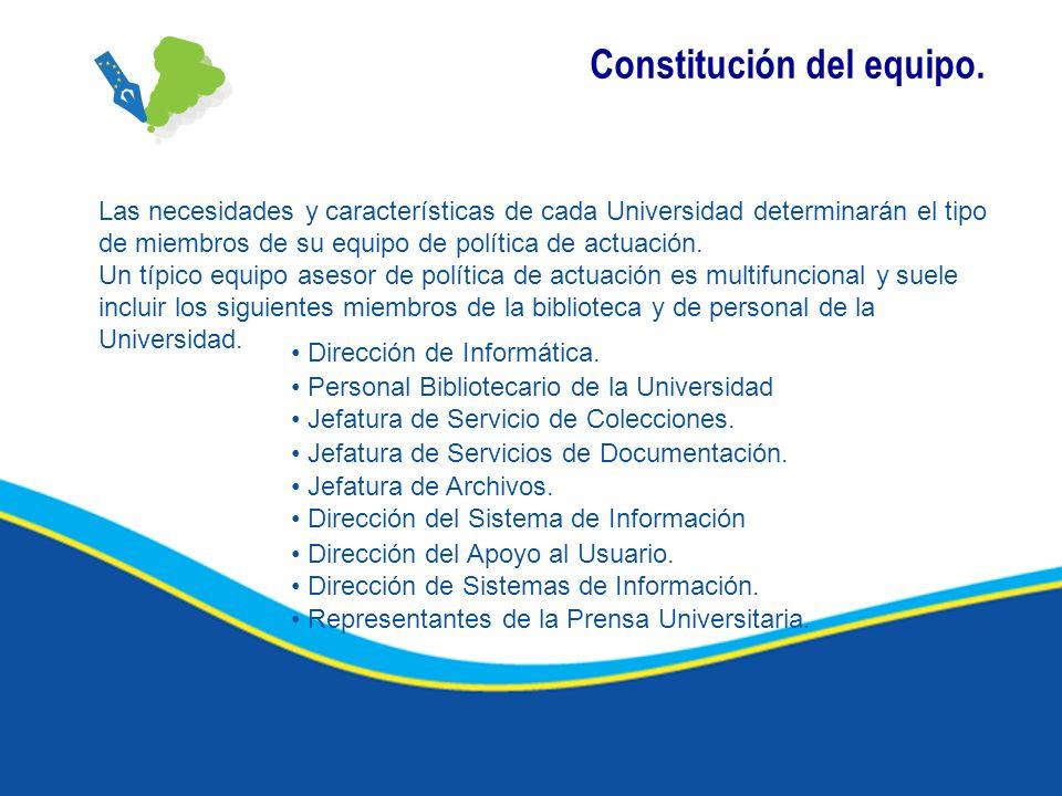 Constitución del equipo. Las necesidades y características de cada Universidad determinarán el tipo de miembros de su equipo de política de actuación.