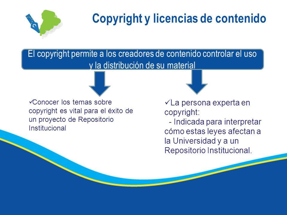 Copyright y licencias de contenido El copyright permite a los creadores de contenido controlar el uso y la distribución de su material Conocer los tem