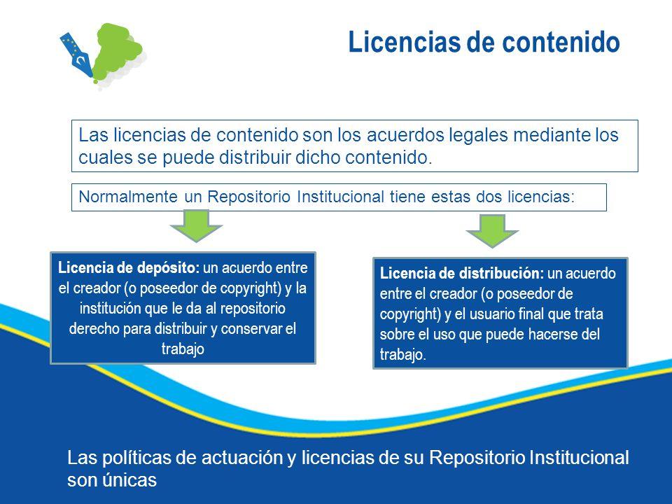 Licencias de contenido Las licencias de contenido son los acuerdos legales mediante los cuales se puede distribuir dicho contenido. Normalmente un Rep