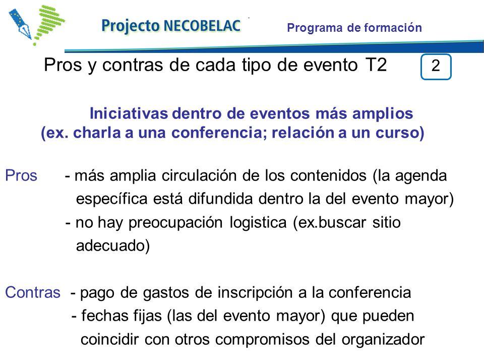 Programa de formación Pros y contras de cada tipo de evento T2 2 Iniciativas dentro de eventos más amplios (ex.