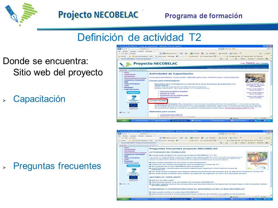 Programa de formación Importante: para quedarse actualizados Todos los participantes a los cursos T1 se comprometen como replicadores de cursos T2 a nivel local Recibirán aviso de nuevo material didáctico y de promoción realizado por los socios y disponible en la web del Proyecto