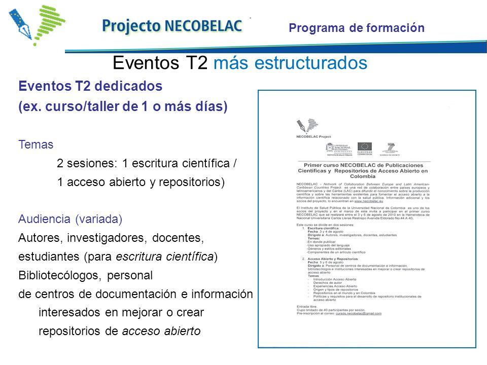 Programa de formación Iniciativas dentro de eventos más amplios (ex.