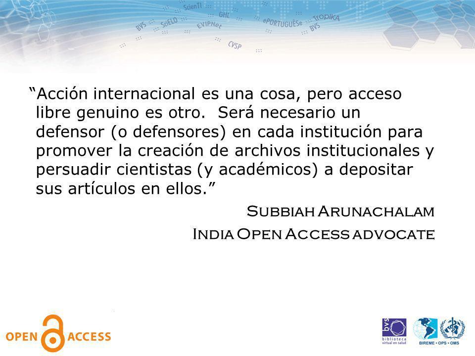 Acción internacional es una cosa, pero acceso libre genuino es otro.