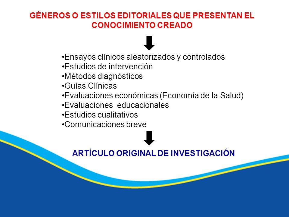 GÉNEROS O ESTILOS EDITORIALES QUE PRESENTAN EL CONOCIMIENTO CREADO Ensayos clínicos aleatorizados y controlados Estudios de intervención Métodos diagn