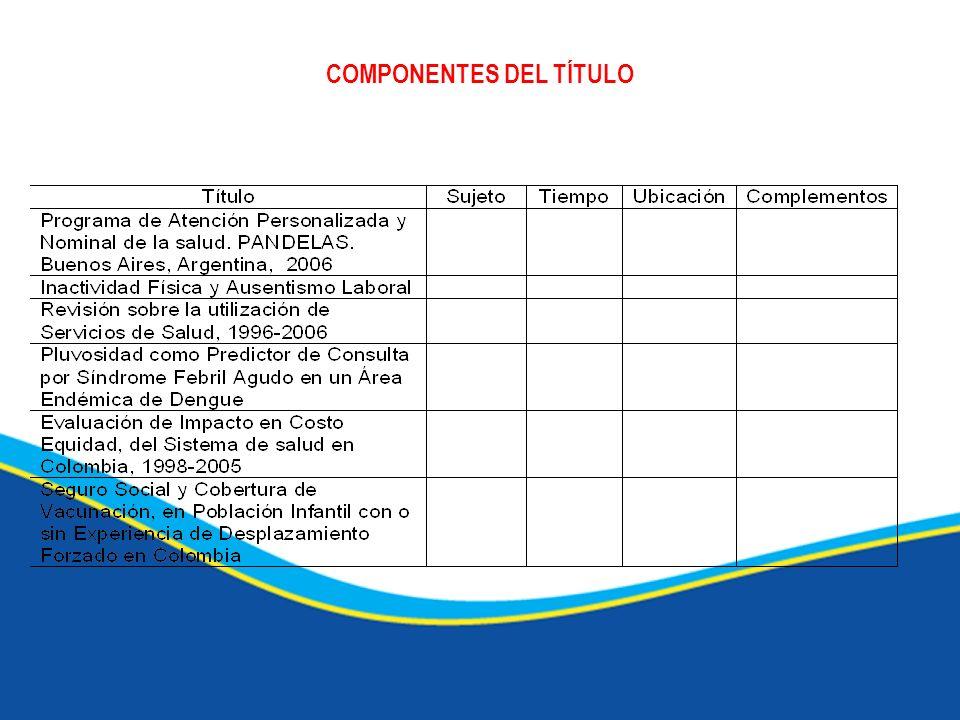 COMPONENTES DEL TÍTULO