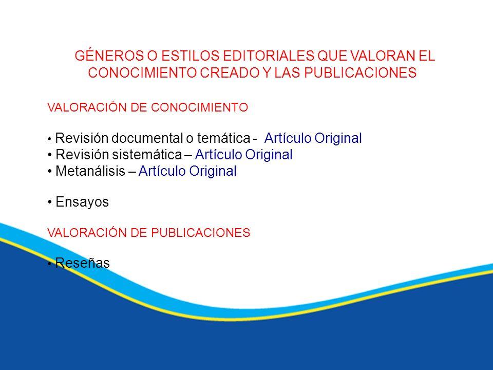 GÉNEROS O ESTILOS EDITORIALES QUE VALORAN EL CONOCIMIENTO CREADO Y LAS PUBLICACIONES VALORACIÓN DE CONOCIMIENTO Revisión documental o temática - Artíc
