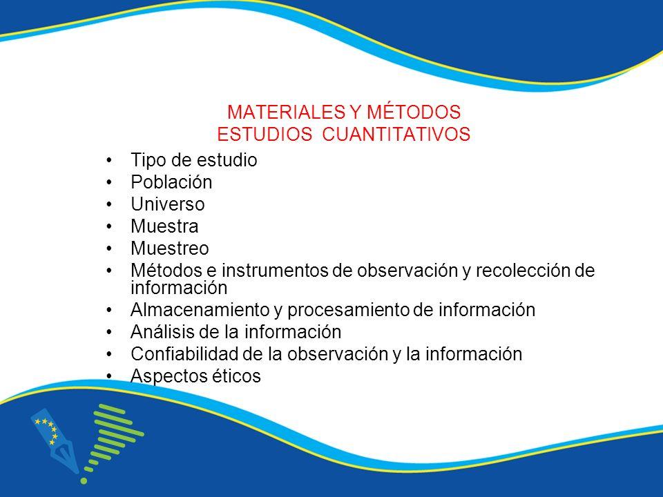 MATERIALES Y MÉTODOS ESTUDIOS CUANTITATIVOS Tipo de estudio Población Universo Muestra Muestreo Métodos e instrumentos de observación y recolección de