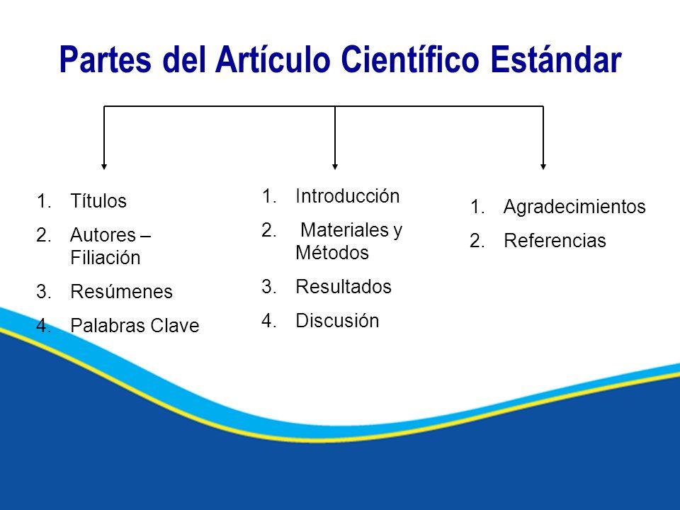 Partes del Artículo Científico Estándar 1.Títulos 2.Autores – Filiación 3.Resúmenes 4.Palabras Clave 1.Introducción 2. Materiales y Métodos 3.Resultad