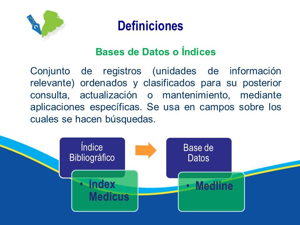 Definiciones Bases de Datos o Índices Conjunto de registros (unidades de información relevante) ordenados y clasificados para su posterior consulta, actualización o mantenimiento, mediante aplicaciones específicas.
