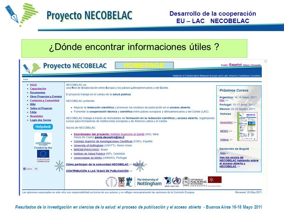 Desarrollo de la cooperación EU – LAC NECOBELAC ¿Dónde encontrar informaciones útiles .
