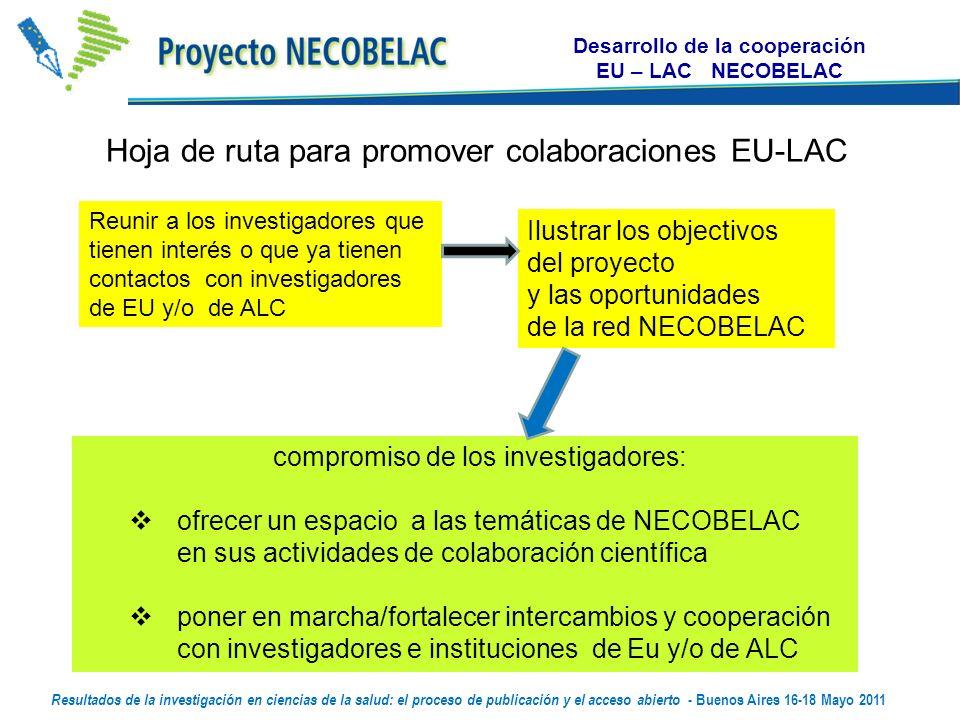 Desarrollo de la cooperación EU – LAC NECOBELAC Hoja de ruta para promover colaboraciones EU-LAC Reunir a los investigadores que tienen interés o que ya tienen contactos con investigadores de EU y/o de ALC compromiso de los investigadores: ofrecer un espacio a las temáticas de NECOBELAC en sus actividades de colaboración científica poner en marcha/fortalecer intercambios y cooperación con investigadores e instituciones de Eu y/o de ALC Ilustrar los objectivos del proyecto y las oportunidades de la red NECOBELAC Resultados de la investigación en ciencias de la salud: el proceso de publicación y el acceso abierto - Buenos Aires 16-18 Mayo 2011