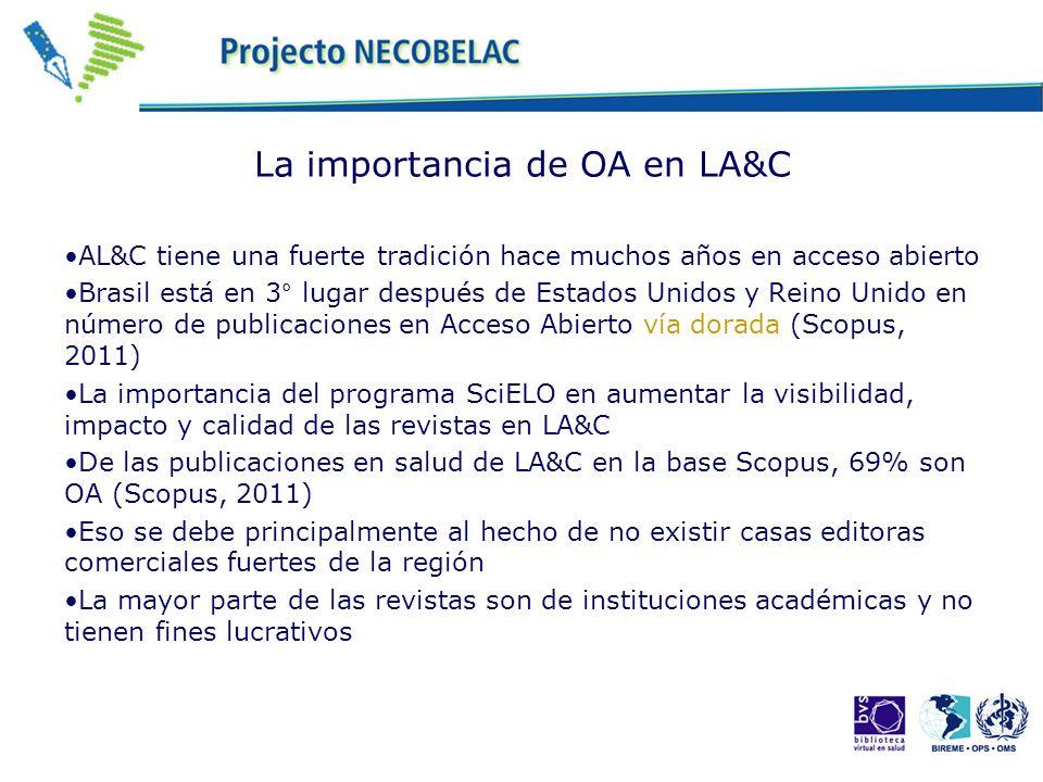 La importancia de OA en LA&C AL&C tiene una fuerte tradición hace muchos años en acceso abierto Brasil está en 3° lugar después de Estados Unidos y Re