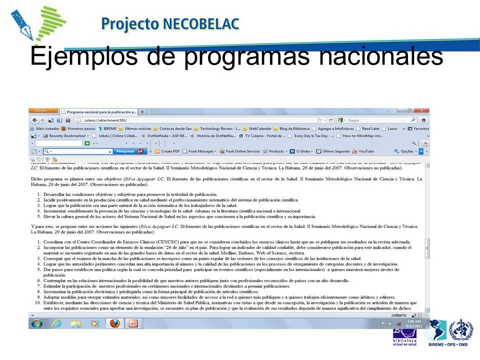 Ejemplos de programas nacionales