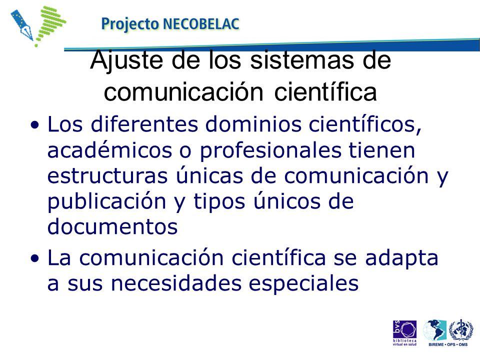 Ajuste de los sistemas de comunicación científica Los diferentes dominios científicos, académicos o profesionales tienen estructuras únicas de comunic